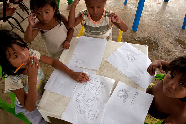 Enrique, one of the teachers, tells us that they have elaborated study-books in the indigenous language for each school year. Unfortunately, the primary texts have not yet arrived, and they are still in search of funds to get the secondary texts printed.